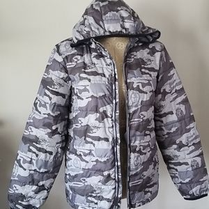 EUC Boys Star Wars Hoodie Camo Puffer Jacket
